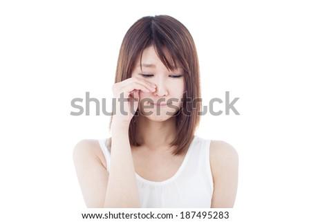 Sad woman isolated on white background - stock photo