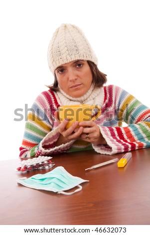 sad woman with flu symptom  (isolated on white) - stock photo