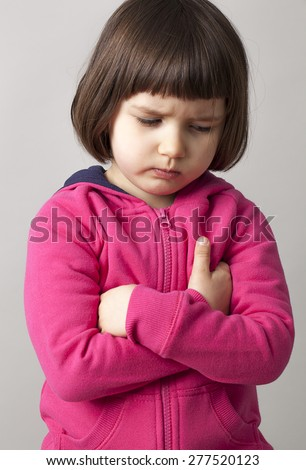 sad 4-year old kid expressing frustration and unhappiness - stock photo