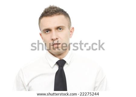 sad young businessman in shirt - stock photo