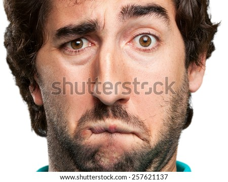sad young man - stock photo