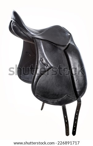 saddle for horse from leather isolated on white - stock photo