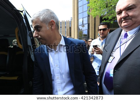 Sadiq Khan , Mayor Of London, leaving Southwark Cathedral after his inauguration ceremony, London , May 7 2016 - stock photo