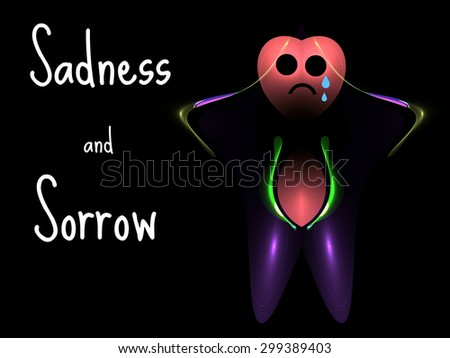Sadness and sorrow concept with text and sad fractal person - stock photo
