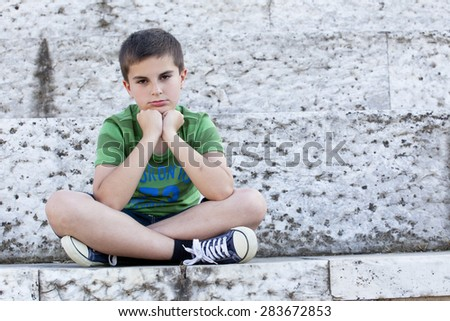 sadness child  - stock photo