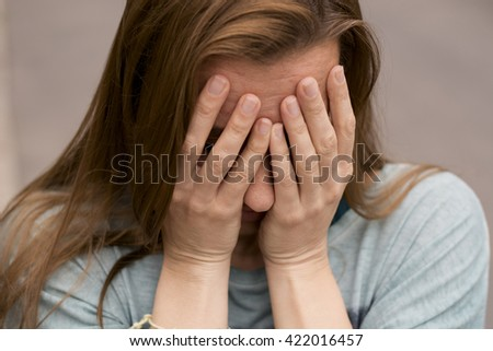 Sadness - Depression of a woman - stock photo