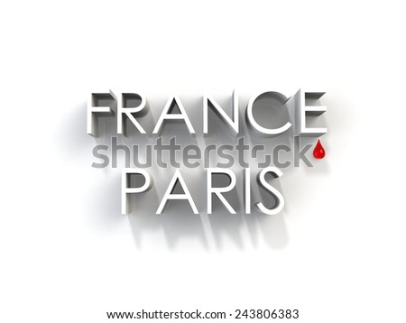 Sadness in France, stop terrorism - stock photo