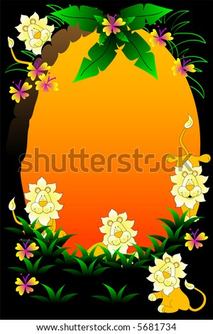Safari background with flowers,tree and wild lions. - stock photo