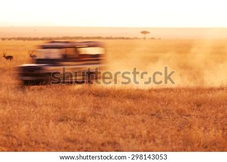 Safari car moving fast in the dust, looking for wild animals in Masai Mara, Kenya - stock photo