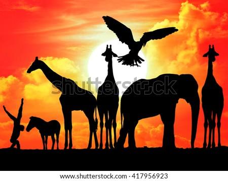 Safari in Africa. Silhouette of wild animals - stock photo