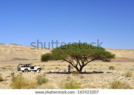 Safari picnic in Crater Ramon geological park, Negev desert. - stock photo