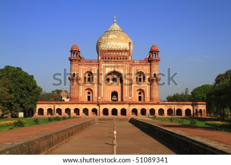 Safdarjung's Tomb is a garden tomb in a marble mausoleum in Delhi, India - stock photo