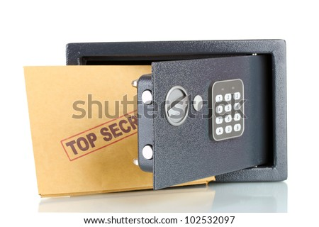 safe and envelope isolated on white - stock photo
