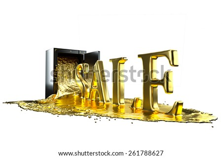 Safe and liquid gold. Gold rises sale symbol. Path included. Perfect for advertising models. Save in days of sales - stock photo