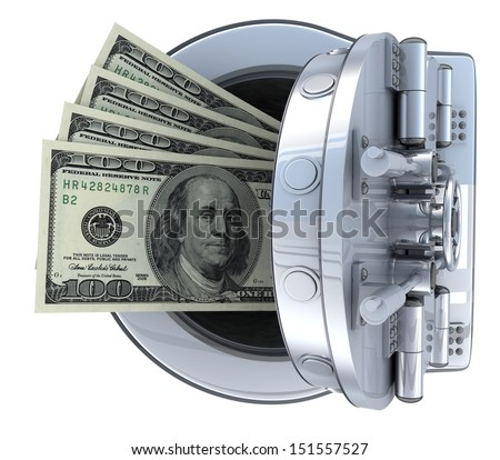 Safe and money (done in 3d, isolated) - stock photo