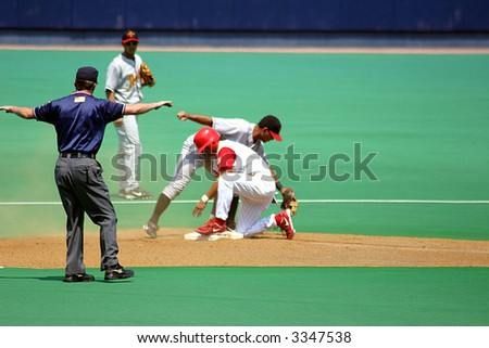 Safe at second base - stock photo