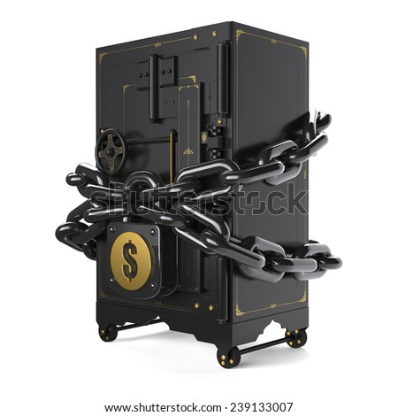 safe closed on the lock and chain (made in 3D) - stock photo