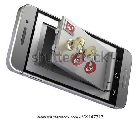 Safe deposit box in the mobile phone - stock photo