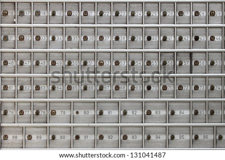 Safe deposit boxes in a bank agency - stock photo