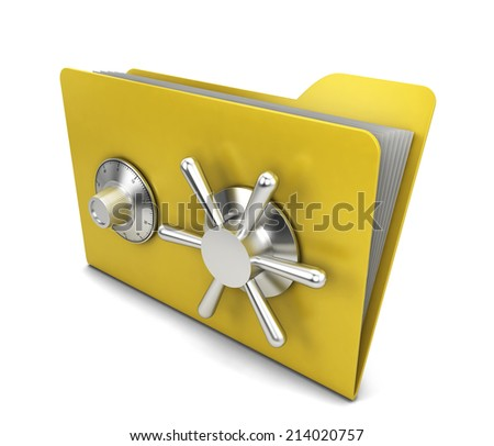 Safe folder. 3d illustration isolated on white background  - stock photo