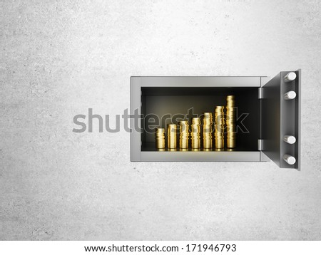 safe in concrete wall with growth money chart - stock photo