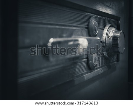 Safe lock code on safety box bank perspective - stock photo