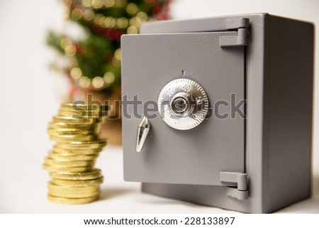 Safe, money and coins - stock photo
