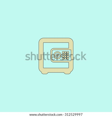 Safe money. Flat simple line icon. Retro color modern illustration pictogram. Collection concept symbol for infographic project and logo - stock photo