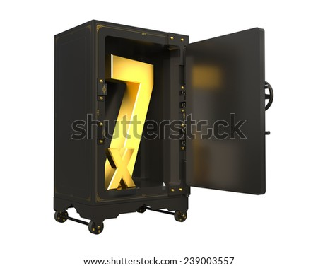 safe open with factors of numbers. made in 3D - stock photo