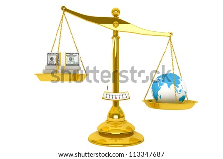 Safe the Earth. Ecology concept. Scale, Money and Globe on a white background - stock photo