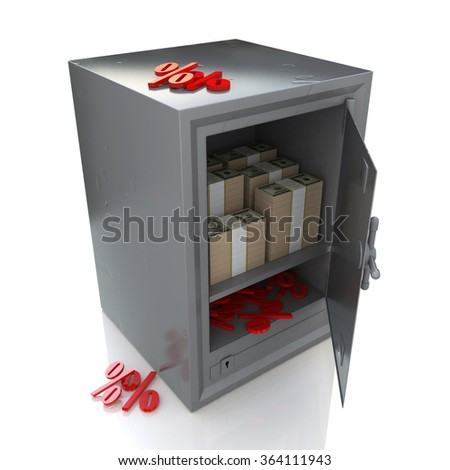 Safe with money and percent signs, Banking security in the design of information related to discount and protection - stock photo
