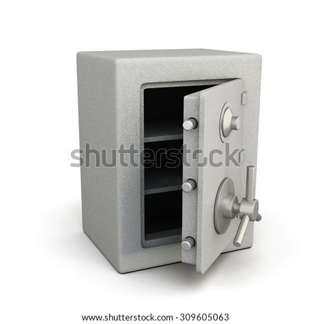 Safe with open door isolated on white background. 3d illustration. - stock photo