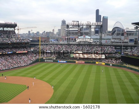 Safeco Field with roof open - stock photo