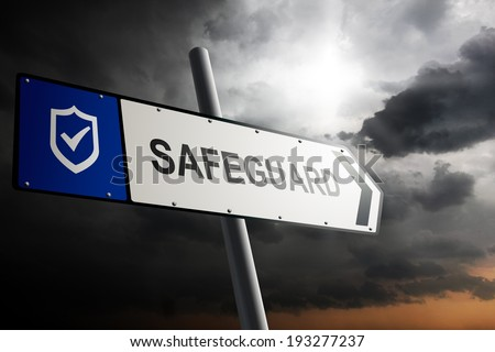 Safeguard direction. Blue traffic sign with cloudy sky in the background. - stock photo