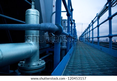 Safety bridge on roof top - stock photo