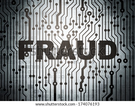 Safety concept: circuit board with  word Fraud, 3d render - stock photo