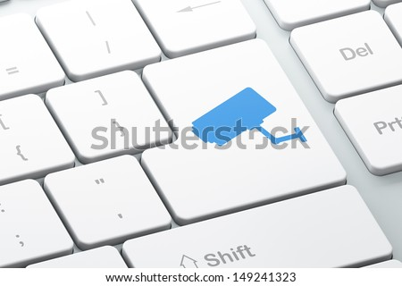 Safety concept: Enter button with Cctv Camera on computer keyboard background, 3d render - stock photo
