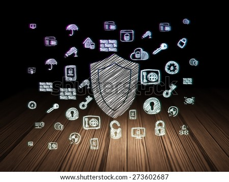 Safety concept: Glowing Shield icon in grunge dark room with Wooden Floor, black background with  Hand Drawn Security Icons, 3d render - stock photo