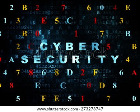 Safety concept: Pixelated blue text Cyber Security on Digital wall background with Hexadecimal Code, 3d render - stock photo