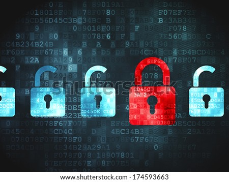Safety concept: pixelated Locks icon on digital background, 3d render - stock photo