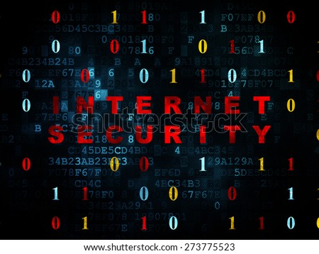 Safety concept: Pixelated red text Internet Security on Digital wall background with Binary Code, 3d render - stock photo