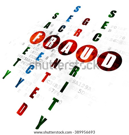 Safety concept: Pixelated red word Fraud in solving Crossword Puzzle on Digital background - stock photo