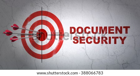 Safety concept: target and Document Security on wall background - stock photo