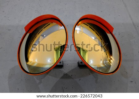 Safety corner mirrors at night. - stock photo