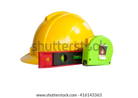 Safety Engineer Helmet and level tool and measuring tape ,Isolated with White background - stock photo
