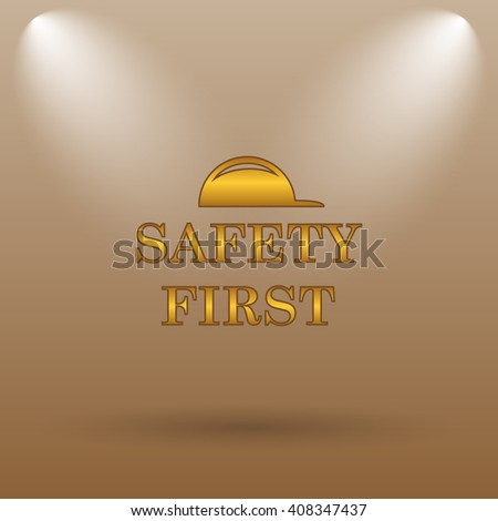 Safety first icon. Internet button on brown background.