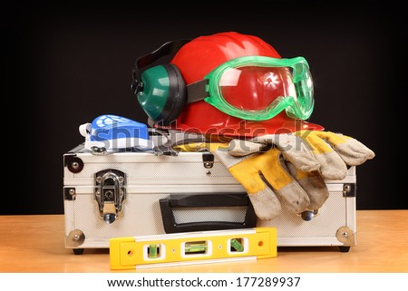 Safety gear kit close up  - stock photo