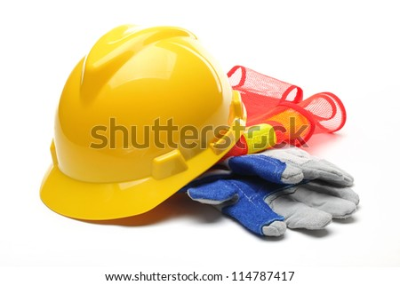 Safety gear kit isolated on white. - stock photo