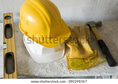Safety hardhats and tools  - stock photo