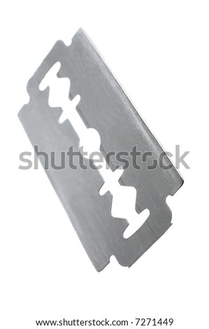 safety razor blade on a white background - stock photo